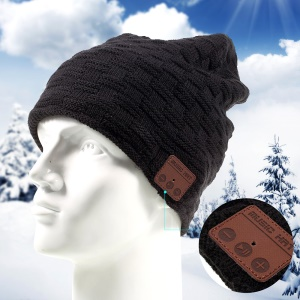 Grid Pattern Knitted Warm Long Music Hat Built-in Wireless Bluetooth Headphone & Microphone - Black