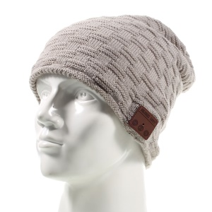 Grid Pattern Knitted Winter Warm Music Hat Built-in Wireless Bluetooth Support Mic - Light Grey
