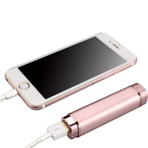 K1 Mini 2-In-1 Bluetooth Single Headset with Mic + USB Cellphone Power Bank - Rose Gold
