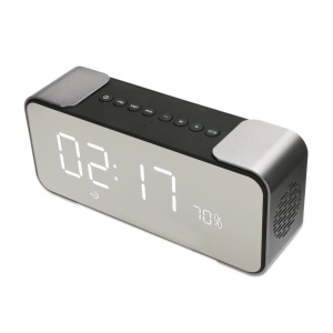 Metal Bluetooth 4.0 Speaker with Large LED Display, Support Aux-in/FM Radio/TF Card - Silver