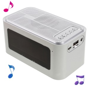 X16 Home Outdoor Bluetooth 4.0 Speaker with LED Display/Time/Alarm Clock/FM - Silver