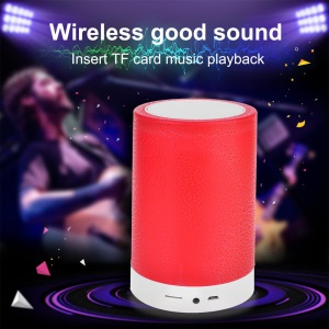 Wireless Bluetooth Speaker with 7 Color Changing Light Support Microphone/TF Card/FM/AUX-in - Red