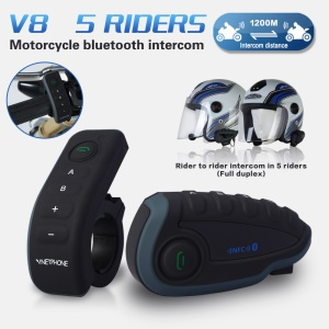 V8 1200m Motorcycle Helmet Bluetooth Intercom with Remote Controller Handlebar Support FM NFC Function for 5 Riders - EU Plug