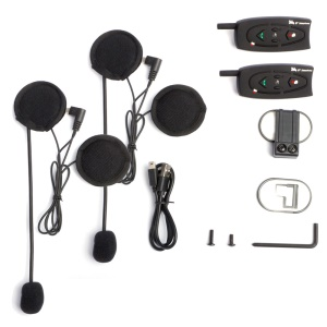 V2-500 500m Two Way Motorbike Helmet Intercoms Talk Bluetooth Headsets for 2 Riders - EU Plug