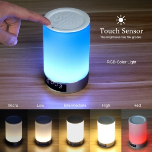 L5 Bluetooth 4.0 Speaker Colorful Romantic Touch Sensor Dimmable Table Lamp Support Mic/TF Card - Silver