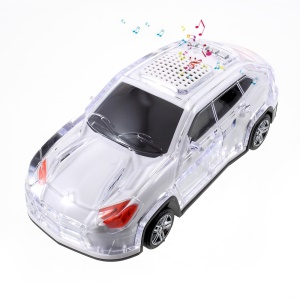 JKR DS-530BT Mini Car Shape LED Bluetooth Speaker with Mic, Support FM/TF Card/U Disk/AUX-in - White