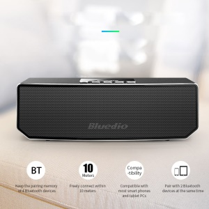 BLUEDIO CS4 3D Sound Wireless Music Player Bluetooth Speaker for iPhone 7, Phones and Tablets - Black