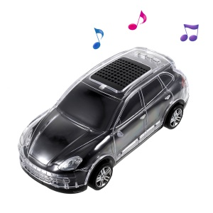 JKR DS-998BT Cool Car Shape LED Bluetooth Speaker with Mic, Support FM/TF Card/U Disk/AUX-in - Black