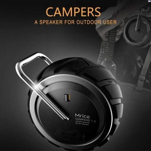 MRICE Campers 1.0 Outdoor Mini Tire-shaped Bluetooth Speaker with Strong Bass Built-in Mic - Black