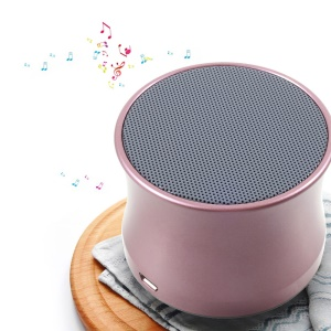 KS-01 Music Mini Bluetooth Speaker Metal Shell with Microphone and TF Card Port - Rose Gold Color