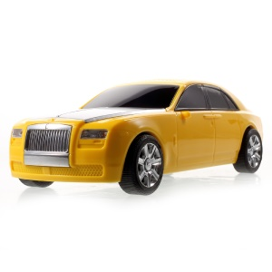JKR DS-510BT Mini Car Model Bluetooth Stereo Speaker with Mic LED Light Support TF Card/AUX-in - Yellow