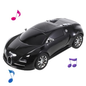 JKR DS-370BT Car Model Portable Bluetooth Speaker with Mic/LED Flash Light/USB/TF Card Slot/AUX-in/FM - Black