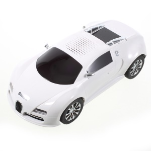 JKR DS-370BT Mini Car Model Bluetooth Speaker with Mic/LED Flash Light/USB/TF Card Slot/AUX-in/FM - White