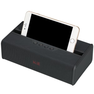 Multi-function FM Transmitter Bluetooth Speaker With LED Clock Display/Phone Stand/TF Card Slot - Black