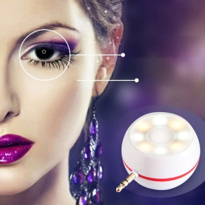 Mini 3.5mm Audio Speaker with 8-LED Selfie Fill-in Light - White