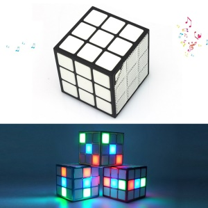 Magic Cube Portable Bluetooth Speaker Built-in Mic TF Card Slot with 36-LED RGB Light (MF-03) - Black