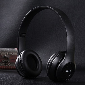 KIDA KD-B09 Foldable Wireless Bluetooth V4.1 Headphone with Mic/TF Card Slot/Audio Input - Black