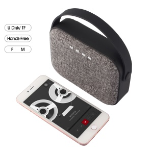 Bluetooth V4.0 Speaker with Handle Support Hands-free Call/U Disk/TF Card/AUX-in/FM - Black