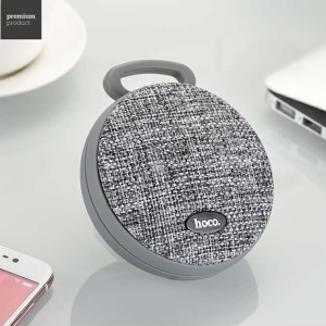 HOCO BS7 MoBu Sports Wireless Speaker Portable Cloth Texture Bluetooth Music Speaker - Grey