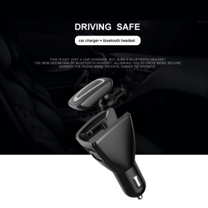 2 in 1 Bluetooth 4.1 Earphone and Car Charger Bluetooth Headset USB Car Charger Car Kit - Black