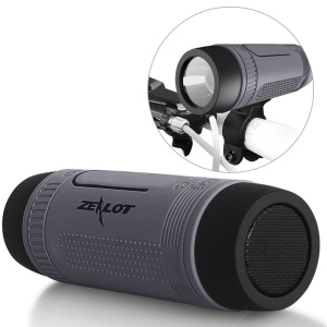 ZEALOT S1 Waterproof Dustproof Shockproof Bluetooth Speaker with Flashlight / Outdoor Bike Mount / Power Bank - Grey