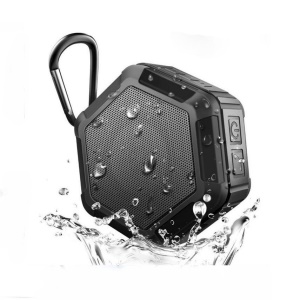 Hexagon Shape IP65 Waterproof Bluetooth Speaker with Microphone for iPhone Samsung Sony etc. - Black