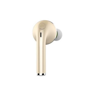 V1 Bluetooth 4.1 Cordless Rechargeable Stereo Single Headset for iPhone 7 - Gold Color