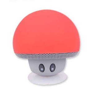 Mushroom Shape Bluetooth Speaker with Suction Holder and Mic - Red