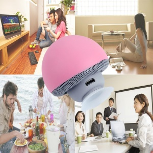 Lovely Mushroom Shape Bluetooth Speaker with Suction Holder and Mic - Pink