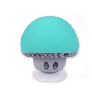 Portable Mushroom Shape Phone Stand Bluetooth Speaker with Suction Holder and Mic - Cyan