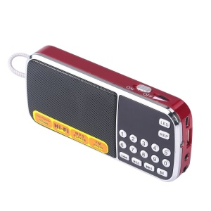 L-088 Mini Digital AM FM Radio Speaker Support Micro SD/TF USB Disk with LED Flashlight - Red / Silver Color