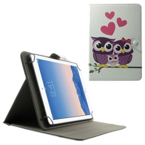 Universal Leather Stand Shell for 10.1-Inch / 9.7-Inch Tablet, Size: 279 x 180mm - Owl Family