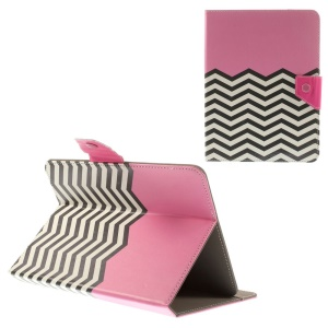 Pink Chevron Stripes Universal Leather Stand Case for iPad mini 3 / Samsung Galaxy Tab T310 T330 Etc, Size: 21.5 x 14cm