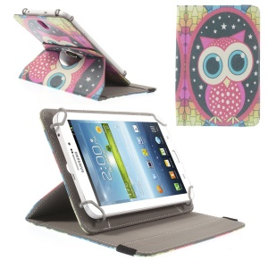 Universal Rotary Stand Leather Cover for Samsung Galaxy Tab 4 7.0 / Tab 3 Lite 7.0 - Owl & Stars