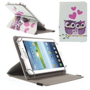 Universal Rotary Stand Leather Cover for Samsung Galaxy Tab 4 7.0 / Tab 3 Lite 7.0 - Owls Couple