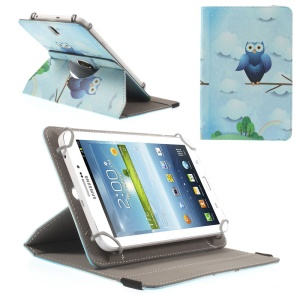 Universal Rotary Stand Leather Cover for Samsung Galaxy Tab 4 7.0 / Tab 3 Lite 7.0 - Owl in the Rain