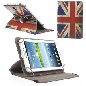 Universal Rotary Stand Leather Case for Galaxy Tab 3 Lite 7.0 / Amazon Kindle Fire - Union Jack