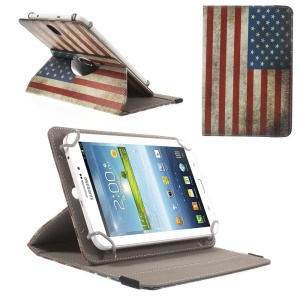 Universal Rotary Stand Leather Cover for Samsung Galaxy Tab 4 7.0 / Tab 3 Lite 7.0 - USA Flag