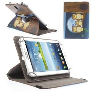 Universal Rotary Stand Leather Cover for Samsung Galaxy Tab 4 7.0 / Tab 3 Lite 7.0 - Owl Family