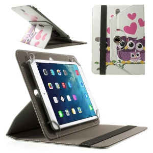 Universal Rotary Stand Leather Cover for iPad mini 2 3 / Samsung Galaxy Tab 4 8.0 T330 etc, Size: 21.5 x 14cm - Happy Owl Family