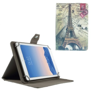 Universal Leather Stand Cover for 9-10-inch Tablet PCs, Size: 268 x 178mm - Eiffel Tower