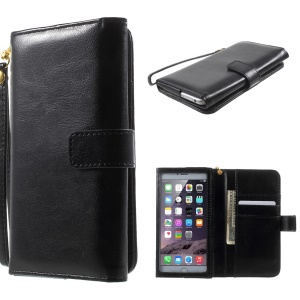 Crazy Horse Leather Purse Wallet Case for iPhone 6 Plus / 6s Plus, Galaxy S6, Inner Size: 159 x 78mm - Black