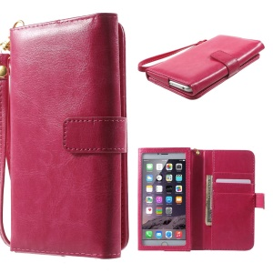 Crazy Horse PU Leather Wallet Case for iPhone 6 Plus / 6s Plus, Galaxy S6, Inner Size: 159 x 78mm - Rose