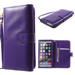 Crazy Horse PU Leather Wallet Cover for iPhone 6 Plus / 6s Plus, Galaxy S6, Inner Size: 159 x 78mm - Purple