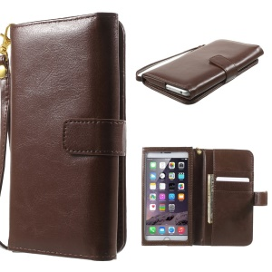 Crazy Horse Magnetic Leather Wallet Case for iPhone 6 Plus / 6s Plus, Galaxy S6, Inner Size: 159 x 78mm - Brown