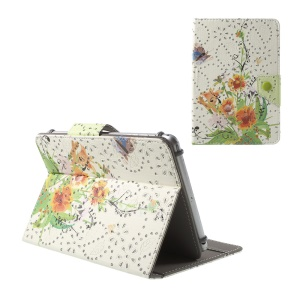 Pretty Flowers and Butterfly Glitter Powder PU Leather Case for iPad mini 3 / Galaxy Tab 4 7.0, Size: 200x135mm
