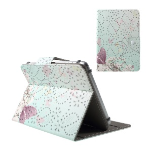 Butterflies and Peach Flower Glitter Powder Stand Leather Case for iPad mini 3 / Galaxy Tab 4 7.0, Size: 200x135mm