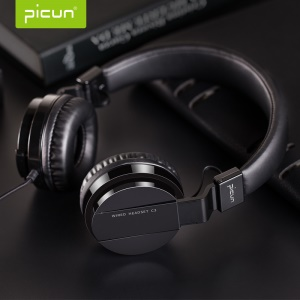 PICUN C3 Hi-Fi Over Ear 40mm Driver Wired Stereo Headphone with Microphone - Black