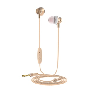 LANGSDOM M430 3.5mm Wired Headset Support Hands-free Phone Calls for iPhone Samsung - Gold Color