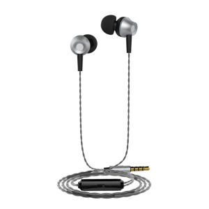 LANGSDOM M299 3.5mm Metal In-ear Headset Headphone with Mic for iPhone Samsung LG - Black